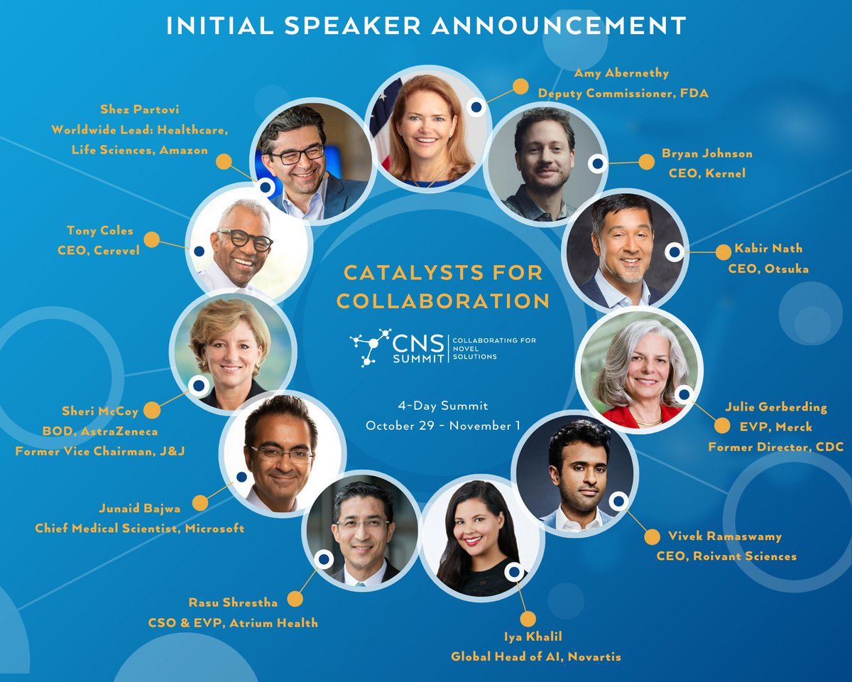 An all star line-up, #CNSSummit2020 will feature speakers @DrAbernethyFDA, @bryan_johnson, @JulieGMD, @VivekGRamaswamy, @IyaKhalil, @RasuShrestha, @drjbajwa, Sheri McCoy, Tony Coles, & @spartoviMD. Be part of our community of #lifescience leaders, visit https://t.co/LeXaplF4pZ! https://t.co/47KkqQ0xVP