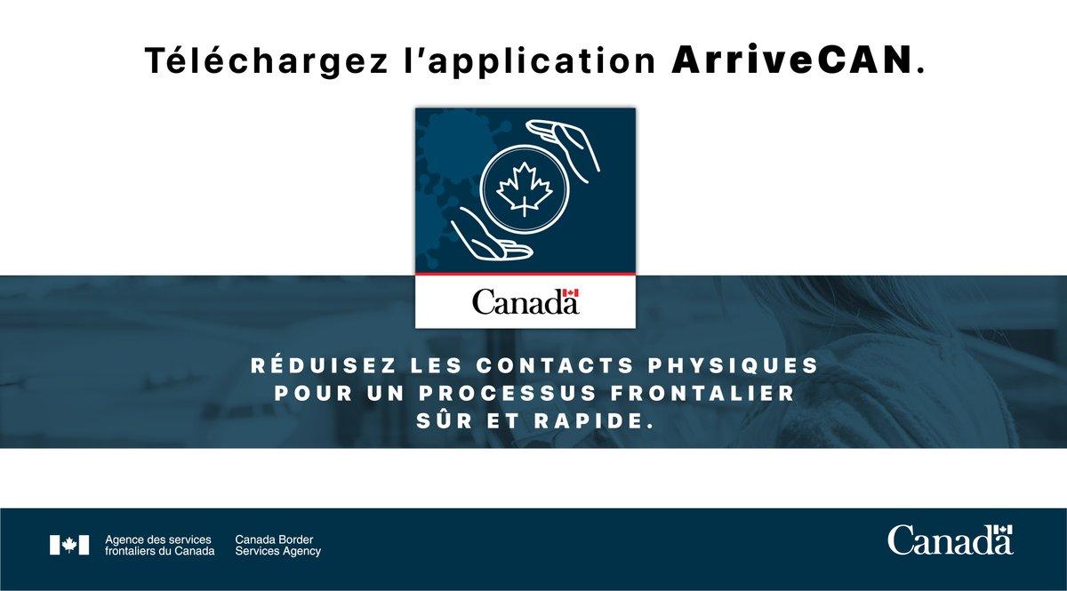 #ATTN 🚨 voyageurs admissibles à entrer au 🇨🇦 :  Transmettez vos infos obligatoires au moyen de l'application mobile ArriveCAN pour réduire les contacts physiques et accélérer le processus à la frontière.   Téléchargez-la ici : https://t.co/pyldIgXhE6 https://t.co/dmIHkvTxFQ