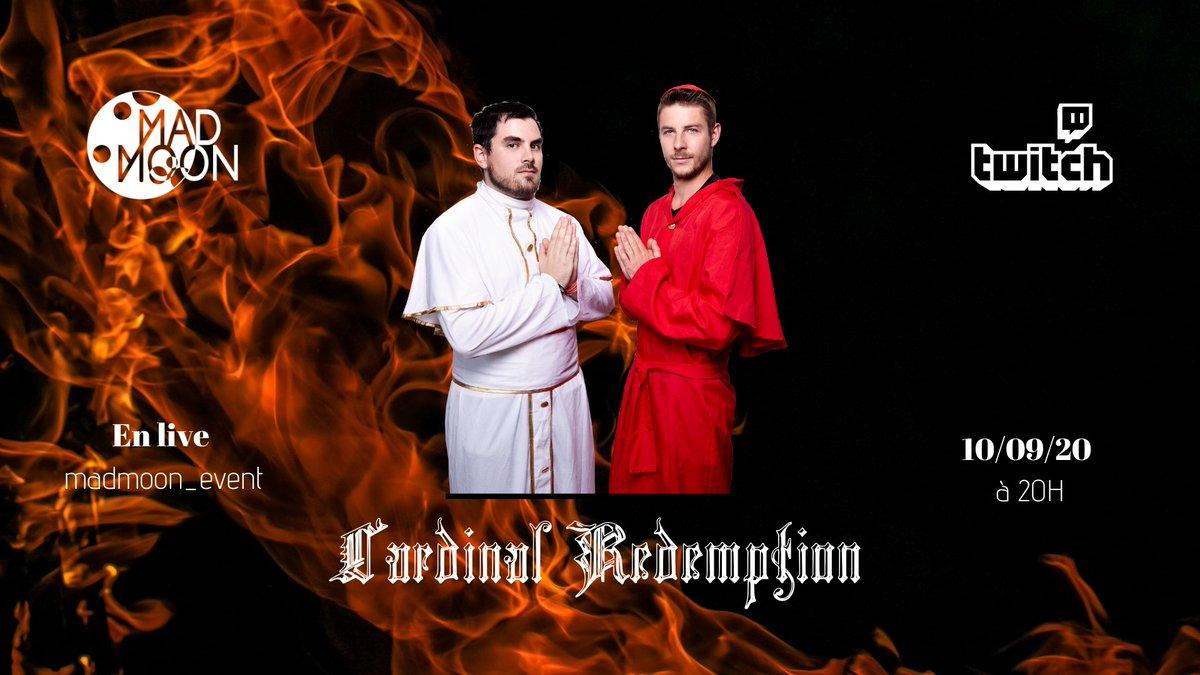 Cardinal redemption sera en live à partir de 20h ce soir sur notre chaine twitch madmoon_event 🎉 On vous y attends les amis 🌒🙏  Toute les infos de l'événement sur notre page Facebook 😎  #hardmusic #hardcore #hardstyle #madmoonevent #hardfamily #hardevent #raw https://t.co/ivAwMJqiMr