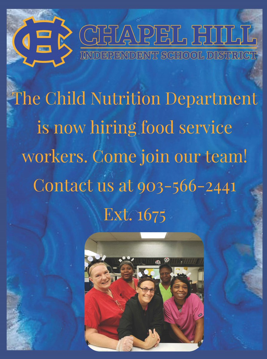 Our Child Nutrition Department is now hiring! Come join our team. Click on picture below.