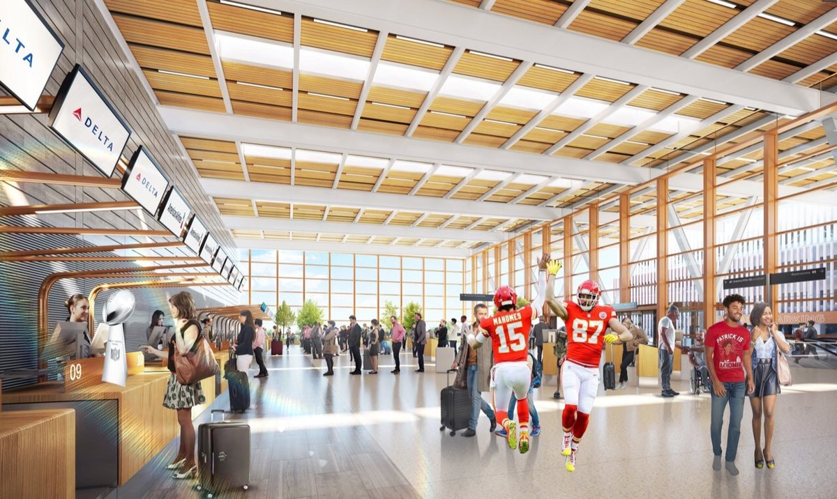 The @KCIAirport New Terminal team is jumping to start off the @Chiefs season! Keep your eyes on that Lombardi Trophy! We're striving to open before the 2023 @NFL Draft in #KC! #UnattendedTrophy #ChiefsKingdom #Chiefs #RedFriday @PatrickMahomes @tkelce https://t.co/bMvHuqhIiG https://t.co/djI2jvYOUs