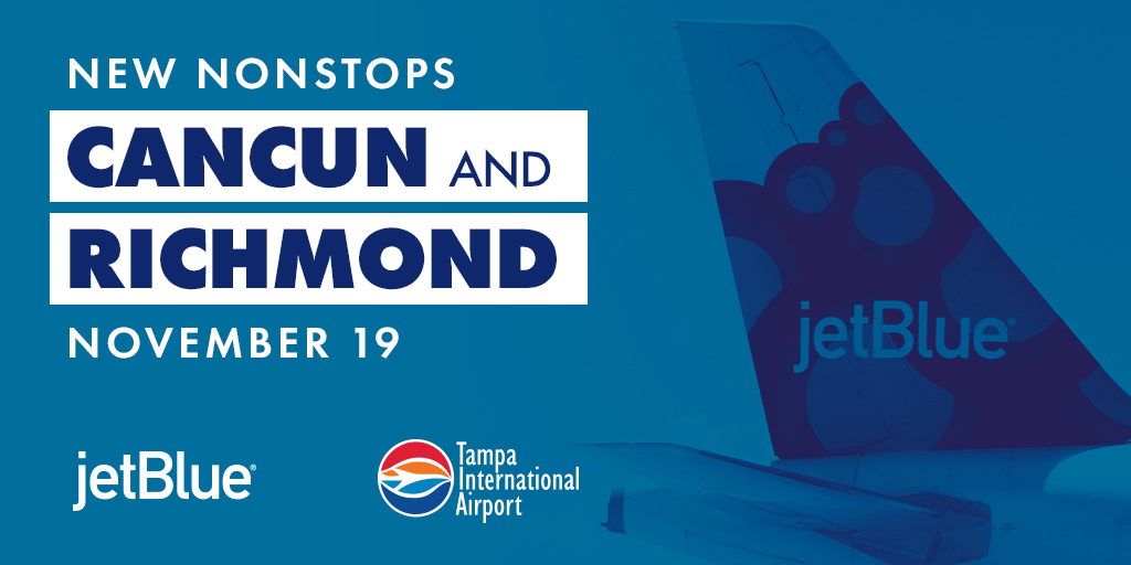 We're happy to announce two new nonstop routes on @JetBlue: Richmond, Virginia and Cancun, Mexico!   https://t.co/iRJS3tAfhm https://t.co/KJCtKtm3n9