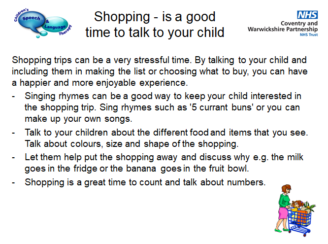 Please take time to talk to your child when you are shopping using these ideas. For more advice and information please see our website https://t.co/ti4tv7ceut #mySLTday #SLTchat #slt2be #CWPTCovKidsSLT https://t.co/kMiCl9f6vO