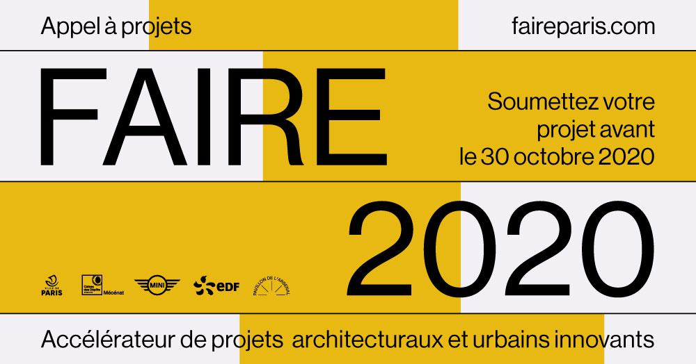 Vous êtes architectes, urbanistes, paysagistes, ingénieurs, designers ? Proposez maintenant votre projet #FAIRE2020 ➡️ https://t.co/oFXSFFP50z Contribuez à un véritable laboratoire collectif de pratiques innovantes pour répondre aux grands défis urbains. #FaireDesign @FAIRE_PARIS https://t.co/7f8CzuUq7t