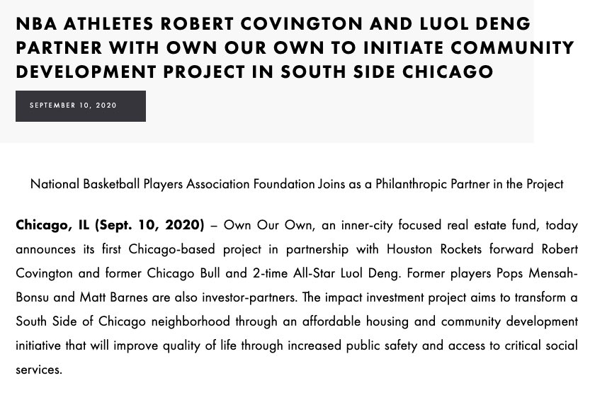 Robert Covington and Luol Deng Partner with Own Our Own to Initiate Community Development Project in South Side Chicago  Link for more info: https://t.co/BwD631Bdpy https://t.co/tZa5mh2yGn