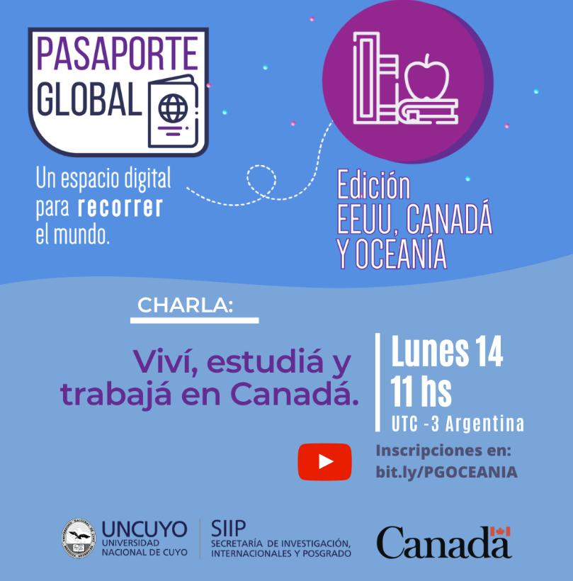 """Vous envisagez d'étudier et de travailler au Canada? Ne manquez pas la conférence virtuelle """"Vivre, étudier et travailler au Canada"""" le 14 septembre à 11 h organisé par l'Université de Cuyo. L'activité est gratuite (en espagnol) avec inscription ici: 👉 https://t.co/1sf6sg1U3H https://t.co/SES8nmN5aR"""
