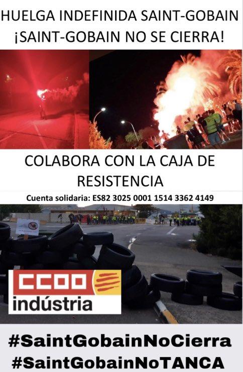 Las trabajadoras y trabajadores de #SaintGobainNoCIERRA #SaintGobainNoTANCA  hemos creado una cuenta solidaria para aportaciones, colabora con nuestra lucha, solo necesitamos un retweet @Diari_Mes @TarragonaCcoo @ccoocatalunya @FICCOOCat @diaridtarragona @AjlArboc @eixdiari https://t.co/u0Bu6pGFqu