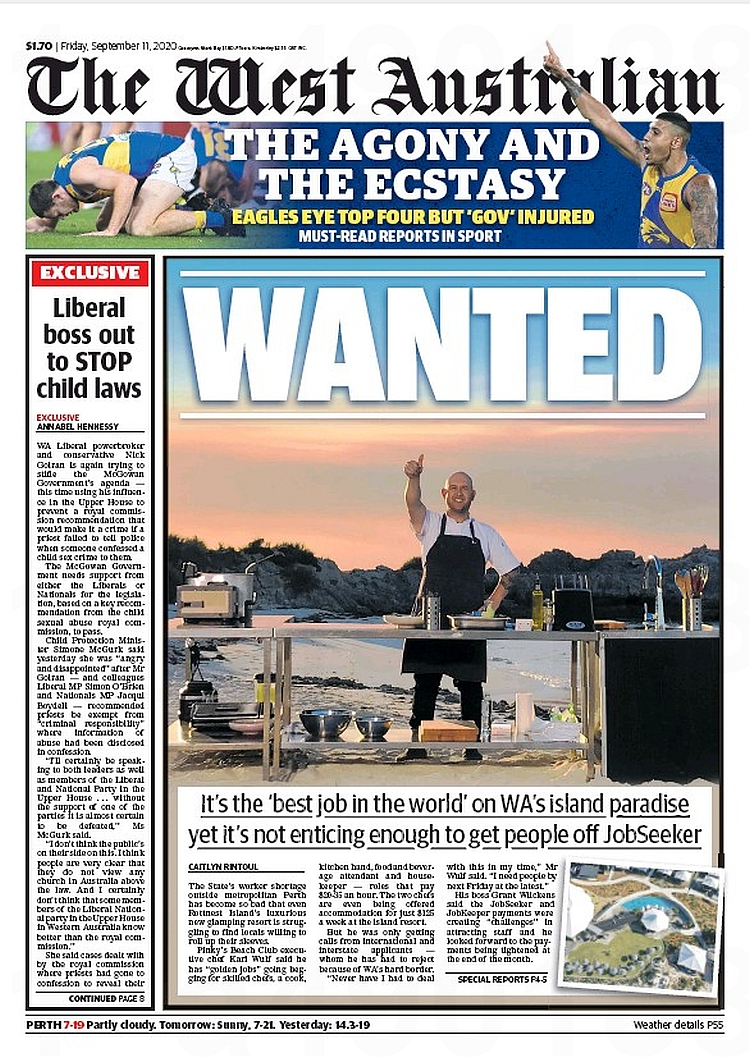 Wanted. It's the 'best job in the world' on WA's island paradise yet it's not enticing enough to get people off JobSeeker ~ @caitlynrintoul  #frontpagestoday #Australia #TheWestAustralian #buyapaper 🗞 https://t.co/mnEY82egZG