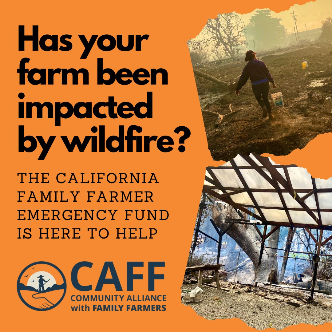 Whether you lost a barn, a tractor or even just missed a few markets due to recent wildfires, we encourage you to apply for CAFF's Family Farmer Emergency Fund. Get the help you need to get back on your feet and back to farming. https://t.co/9YXy5HyFfc https://t.co/oecSeptzvC