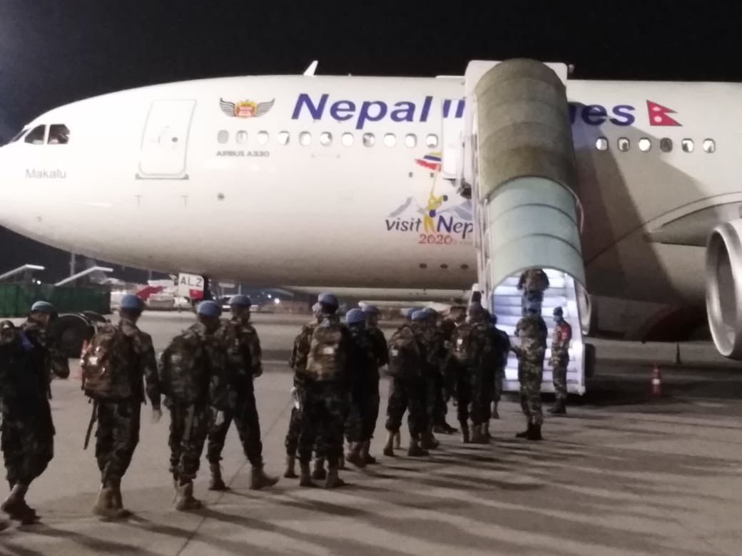 253 Nepali peacekeepers, last batch of the rotating Battalion for UNMISS South Sudan departed this morning. Rotation of troops for UNSMIl due to begin on 5/29. #continuedpeacekeepinginpandemic https://t.co/sasWaG9ITE