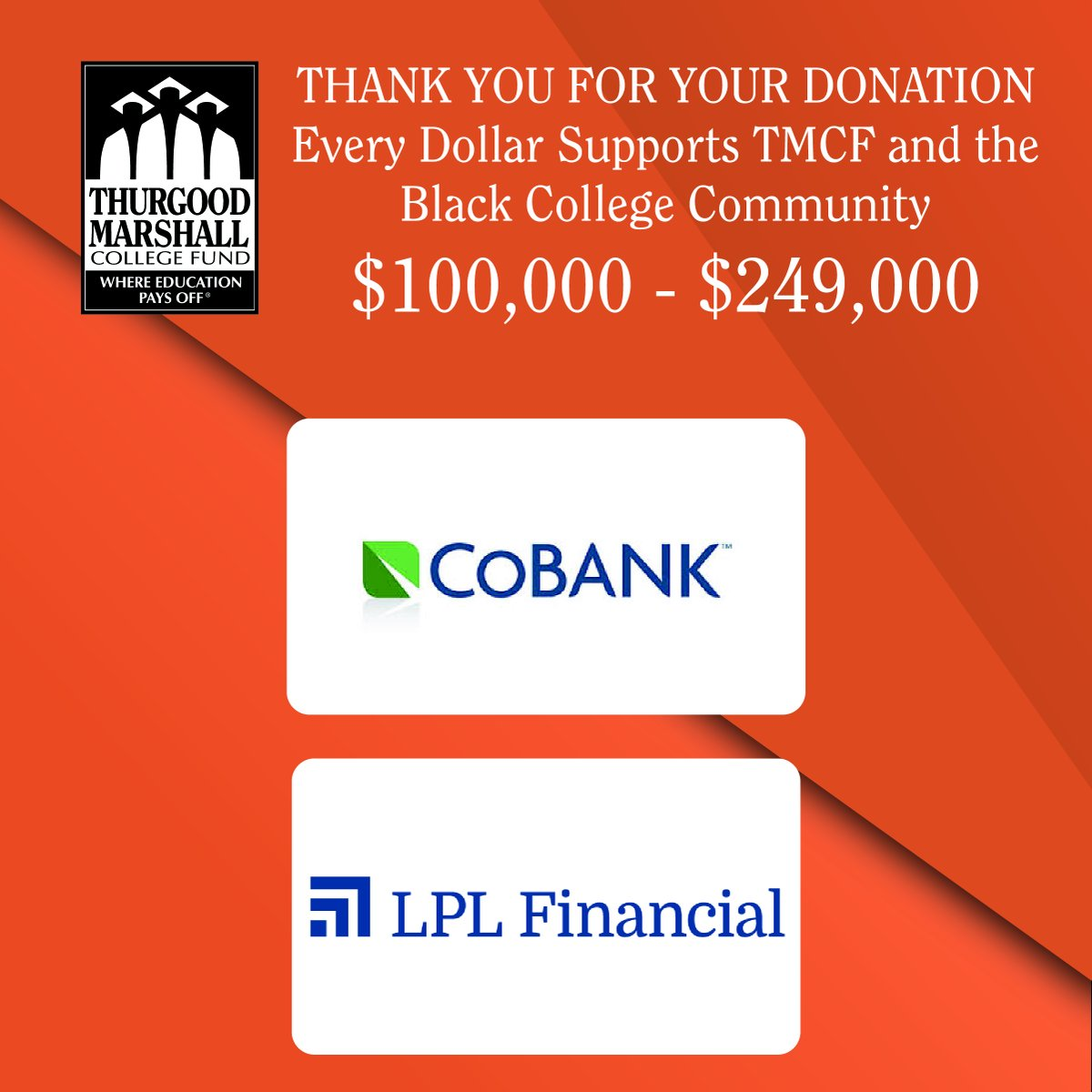 We're grateful for the support of the Black College Community by these amazing orgs!  @HarperCollins, @BlueYonder, @churchmutual, @MazdaUSA, @SpiritAirlines, @bostonfdn, @DreamBox_Learn, @redroofinn, @UncommonGoods, @1800CONTACTS, @HourglassMakeup, @CoBank, @LPL, & @f5networks https://t.co/MheG3Ip96M