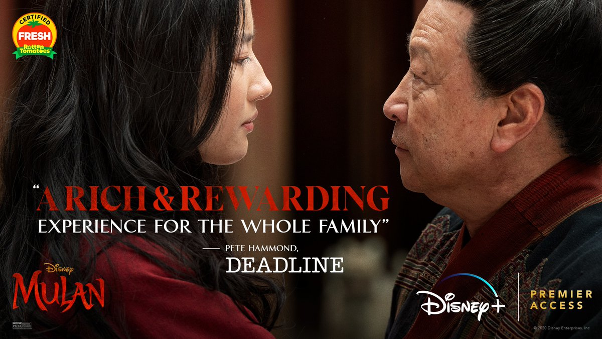 """Disney's #Mulan is """"a rich & rewarding experience for the whole family."""" Now streaming exclusively on #DisneyPlus with Premier Access. For more info: https://t.co/iy94t8BgR3 https://t.co/PZH12i1Sid"""