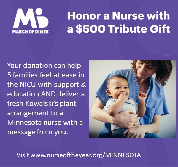 #minneapolis #healthequity Minnesota nurses share the same values as #marchofdimes, supporting programs like in-person & virtual NICU Family Support. Join me by honoring these amazing essential workers with a Tribute Gift today!https://t.co/qP7FURRr82 https://t.co/CXSJvPMURr