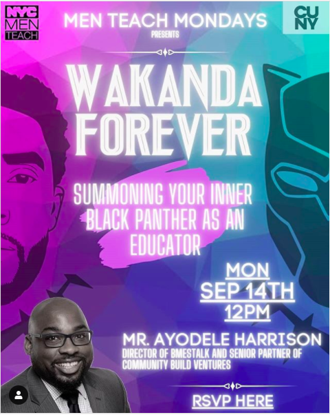 Let's chat and chew.  Bring your lunch.   Join me: https://t.co/SnS9OnvpeD  #CBVEducation @CBVentures1  @BMEsTalk  #BlackPanther  #chadwickbozeman  @nycmenteach https://t.co/YXABTUsVyl