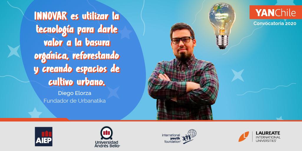 Postula a @YAN_Chile y recibe mentorias para potenciar tu proyecto.🤩 Como Diego Elorza, fundador de @urbanatika, empresa que integra tecnología para recuperar basura orgánica y crear espacios de cultivo urbano.   ¡Queremos conocerte!→ https://t.co/mmlUydBs5b https://t.co/iNLyPDnbl1