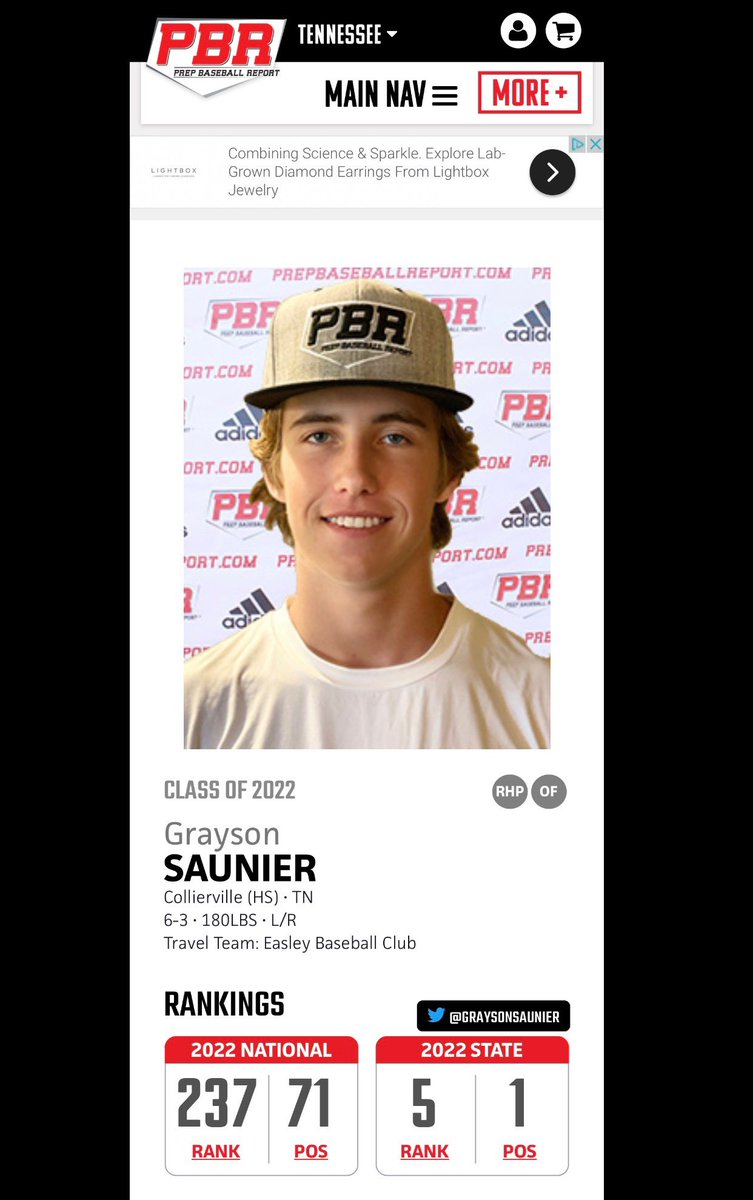 Congrats to @CvilleBaseball_ 2022 RHP @GraysonSaunier for being ranked the #1 pitcher in the state of by @PBRTennessee.  Saunier is an @OleMissBSB  commit. #WorkWins @CHSDragons @GoDragonsGo_ https://t.co/4xNYxdXbcq