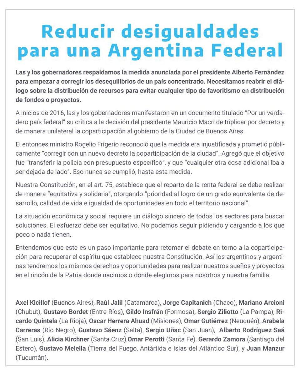 Junto al Presidente de la Nación @alferdez estamos comprometidos en trabajar juntos por reducir las desigualdades en una #ArgentinaFederal. Este es el camino, con diálogo, consenso y construcción conjunta por el #Desarrollo del país y de todas las provincias argentinas. https://t.co/y9u1Mx2wl3