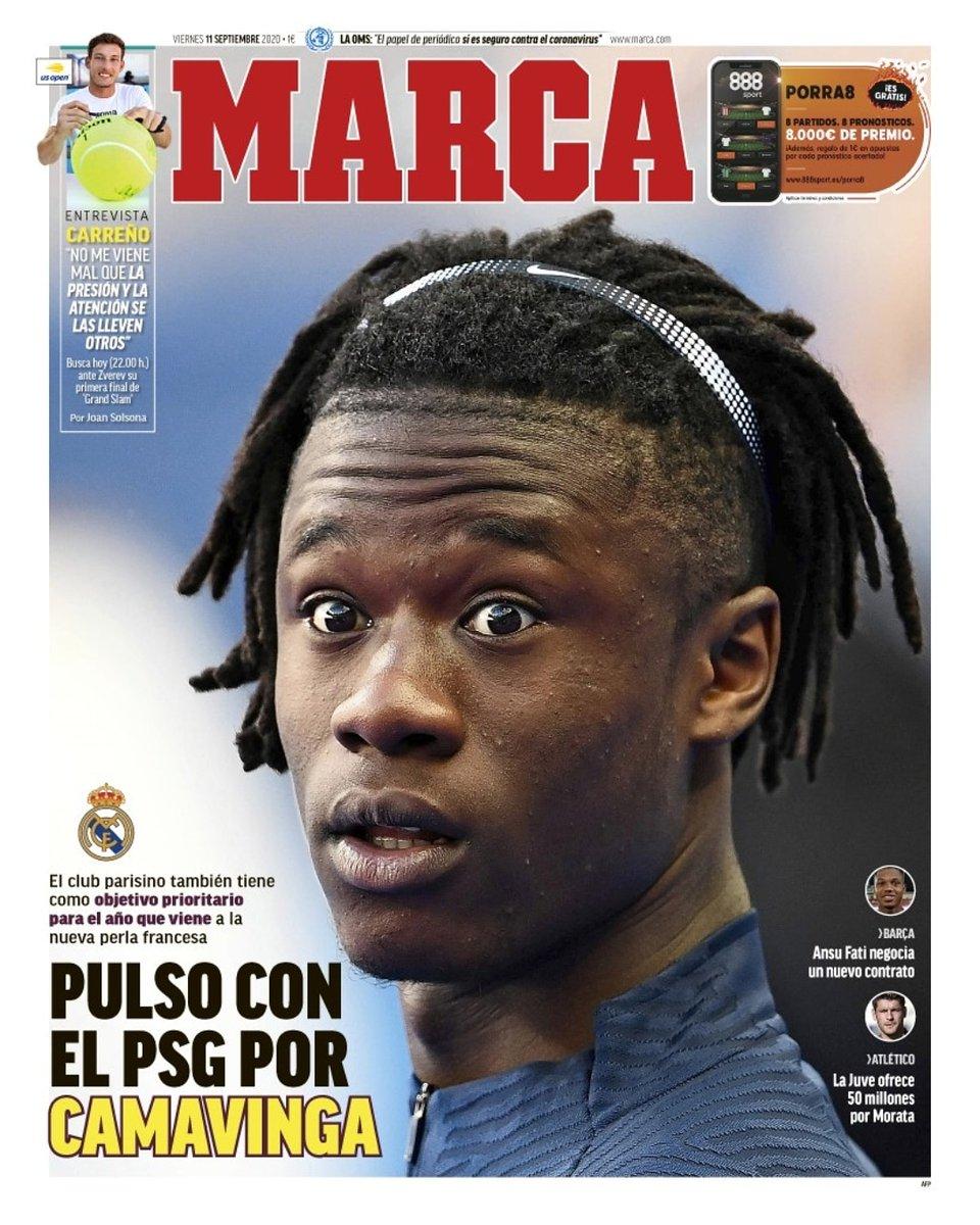 #FederaciónDePeñas #MadridistasUnidos #madridismouniversal #madridismounido #RealMadrid #HalaMadrid #madridistas #laportada #11Septiembre #viernes #MARCA @marca #Camavinga #pulso #PSG #objetivo #tenis #Carreño #entrevista #AnsuFati #contrato #Morata #Juventus #50millones https://t.co/Q1mkT74bsr