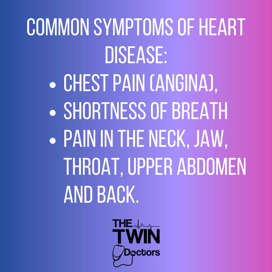Common symptoms of heart disease can include chest pain (angina), shortness of breath and pain in the neck, jaw, throat, upper abdomen and back.   Learn more about heart disease here: https://t.co/AHRrDmOT7Q https://t.co/HXJn2mE7x5