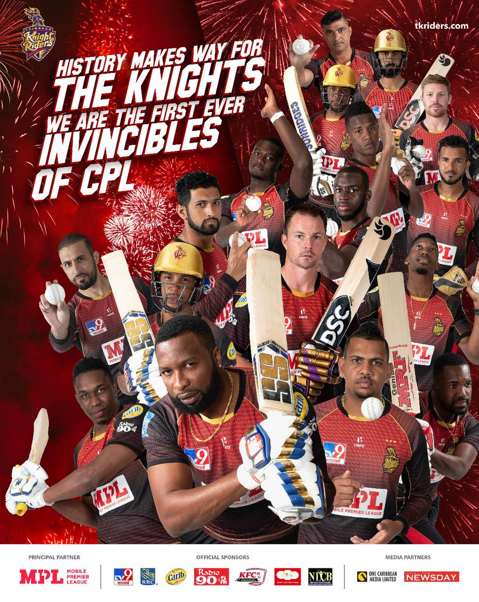 Tribago Knight Riders just won the Caribbean League !!!! Creating a record ...!!!! 12 matches played , won each of them ...!!!! Sooooo happy , proud and grateful ...!!!! 🙏🙏🙏😁😁😁🌟🌟🌟👍👍👍👍 @TKRiders @CPL https://t.co/qiQej1ASIA