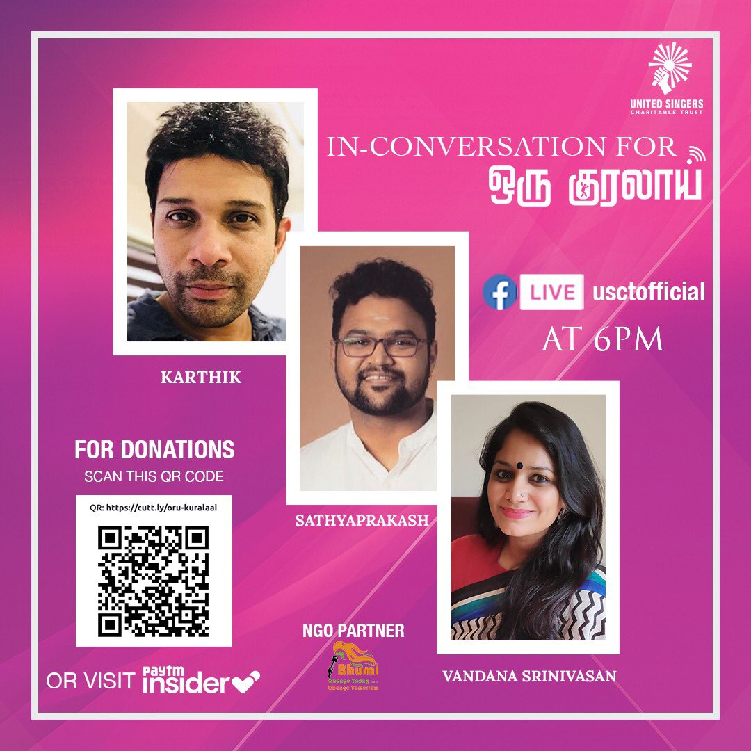 Hey guys, Will be going LIVE with the wonderful musicians @vandanism and @dsathyaprakash😊 See you there on @usctofficial's Facebook page today at 6 PM (IST)  Also, pls donate for this great cause. https://t.co/X67h6uLVOH  #USCT #OruKuralaai https://t.co/xi35tQCVP2