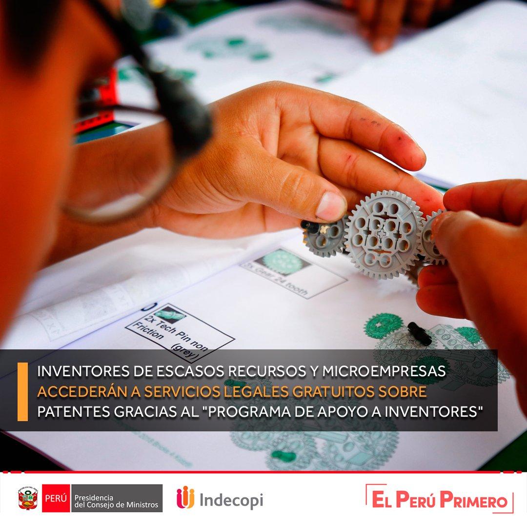 """La escasez de recursos económicos ya no será un impedimento para que los inventores peruanos patenten sus inventos o modelos de utilidad, gracias al """"Programa de Apoyo a Inventores""""➡️ https://t.co/V6PeOjCXte. https://t.co/JvBT0Lk3Az"""