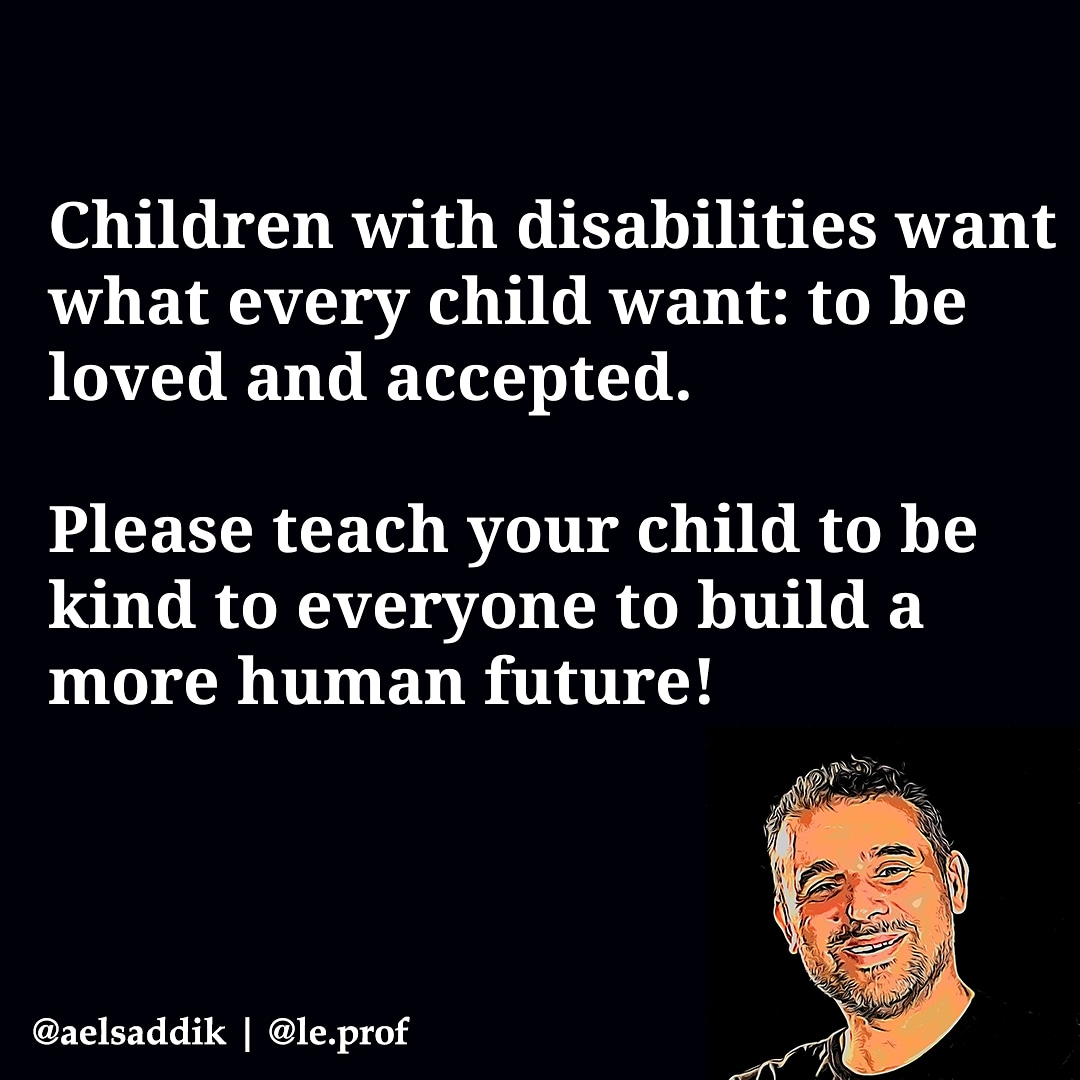 Children with disabilities want what every child want: to be loved and accepted!  Please teach your child to be kind to everyone to build a more human future  #inclusion #autismspeaks #equity #Diversity #Respect #love #Disability #empathy ❤️❤️❤️ https://t.co/INNVIWGk3g