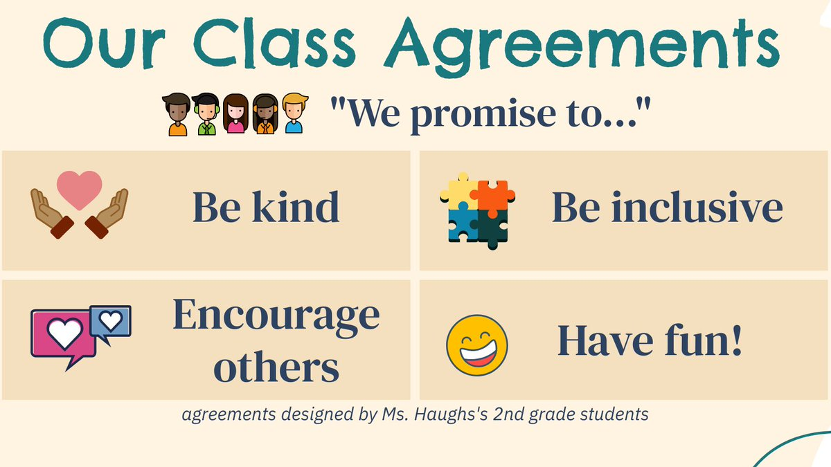 """Spent first 3 wks of school on class community & what agreements we want to make to help everyone achieve their hopes & dreams for 2nd gr. Here are the class """"rules"""" my Ss finally decided on today. I think they nailed it 😍#CUSDRockstar #K2CanToo #caedchat #SEL #dtk12chat https://t.co/P0NBxEtocs"""