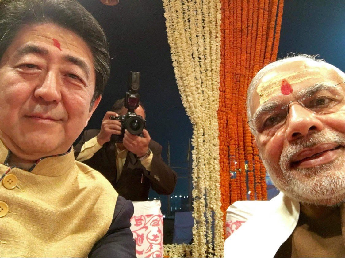 Shinzo Abe in a series of tweets shares his pictures with PM Modi and thoughts on Indo-Japan relations