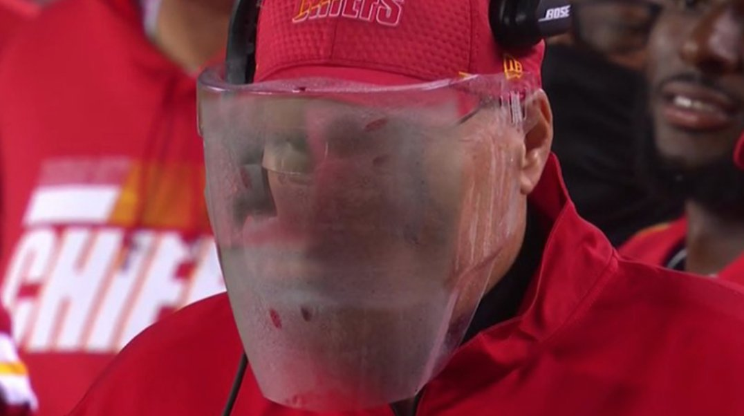 """The MMQB on Twitter: """"Andy Reid vs. his face shield 😂 #ChiefsKingdom… """""""