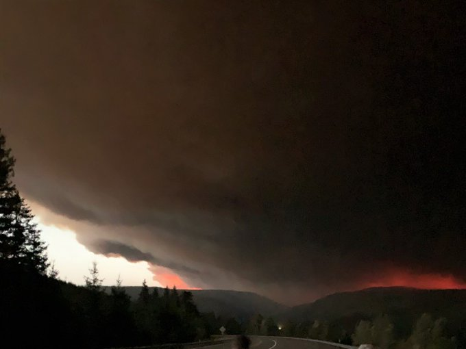 Smoke darkens the sky above the Riverside Fire on September 8, 2020 on the Mt. Hood National Forest in Oregon. Credit: USDA Forest Service Mt. Hood National Forest
