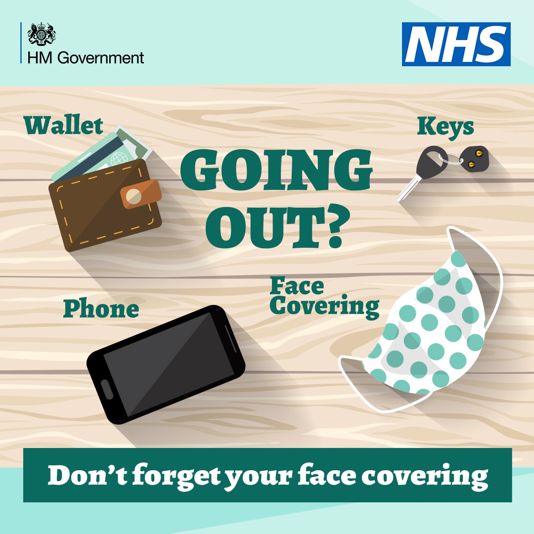 Remember your face covering when going out  Please protect yourself and others   Make sure to wear your face covering in the places listed https://t.co/Z3eklhTLZl  #staysafe https://t.co/nEqS637gkO