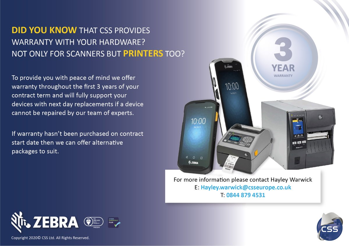 Keep your hardware maintained with CSS's warranty packages. For more details contact Hayley today!