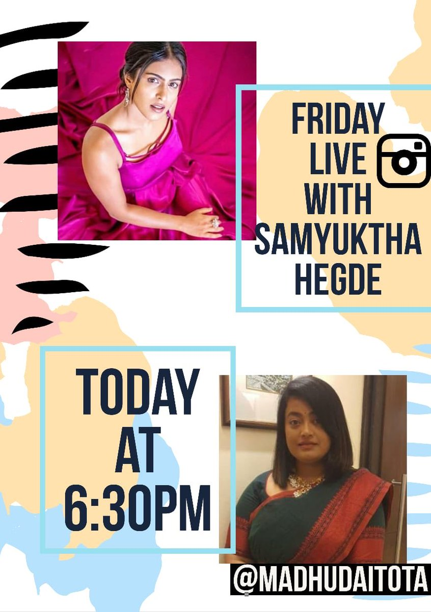 Going live this evening with @SamyukthaHegde on @instagram. Join us :) https://t.co/PxR3WMS8Xw