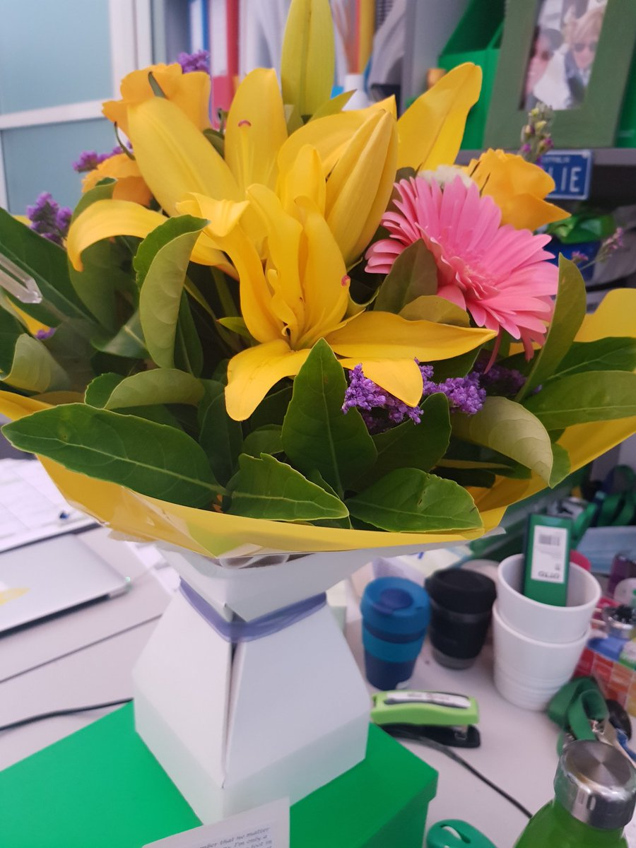 Always nice to get flowers at work. 'One foot in front of the other' #sisterlove #RUOKDay2020