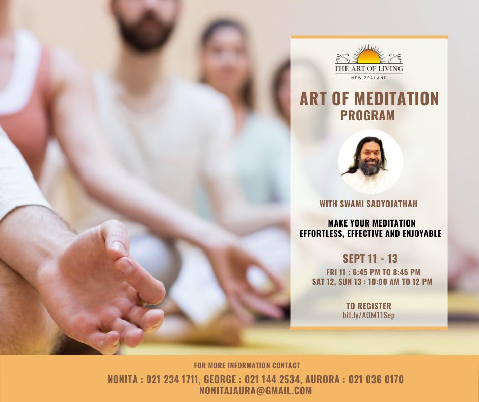 SAHAJ SAMADHI MEDITATION Programme begins today and SHAKTI KRIYA begins tomorrow in Christchurch, New Zealand . #meditationtransformslives @ArtofLiving @SriSri https://t.co/AeYzlWSM5B
