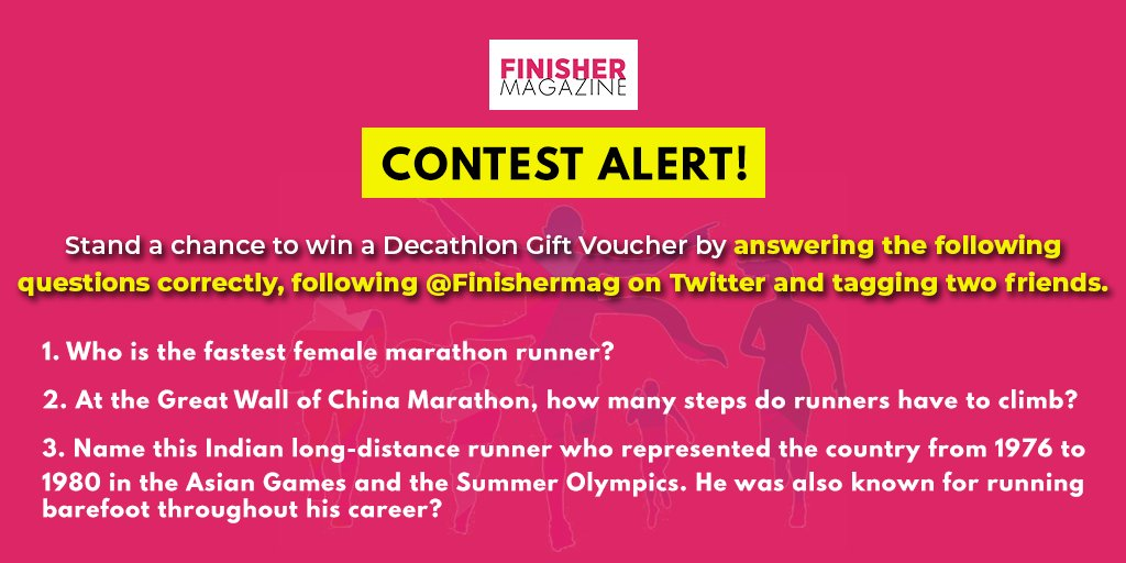 #ContestAlert  Stand a chance to win a @Decathlon_India 🎁 voucher by answering these running-related questions!  3 Steps:  👉 Follow us on Twitter @FinisherMag  👉 Answer all the questions asked on this tweet.   👉 Tag 2 #Friends   @Contest_Alert #Contest ends at 7pm today! https://t.co/pstN2m98wg