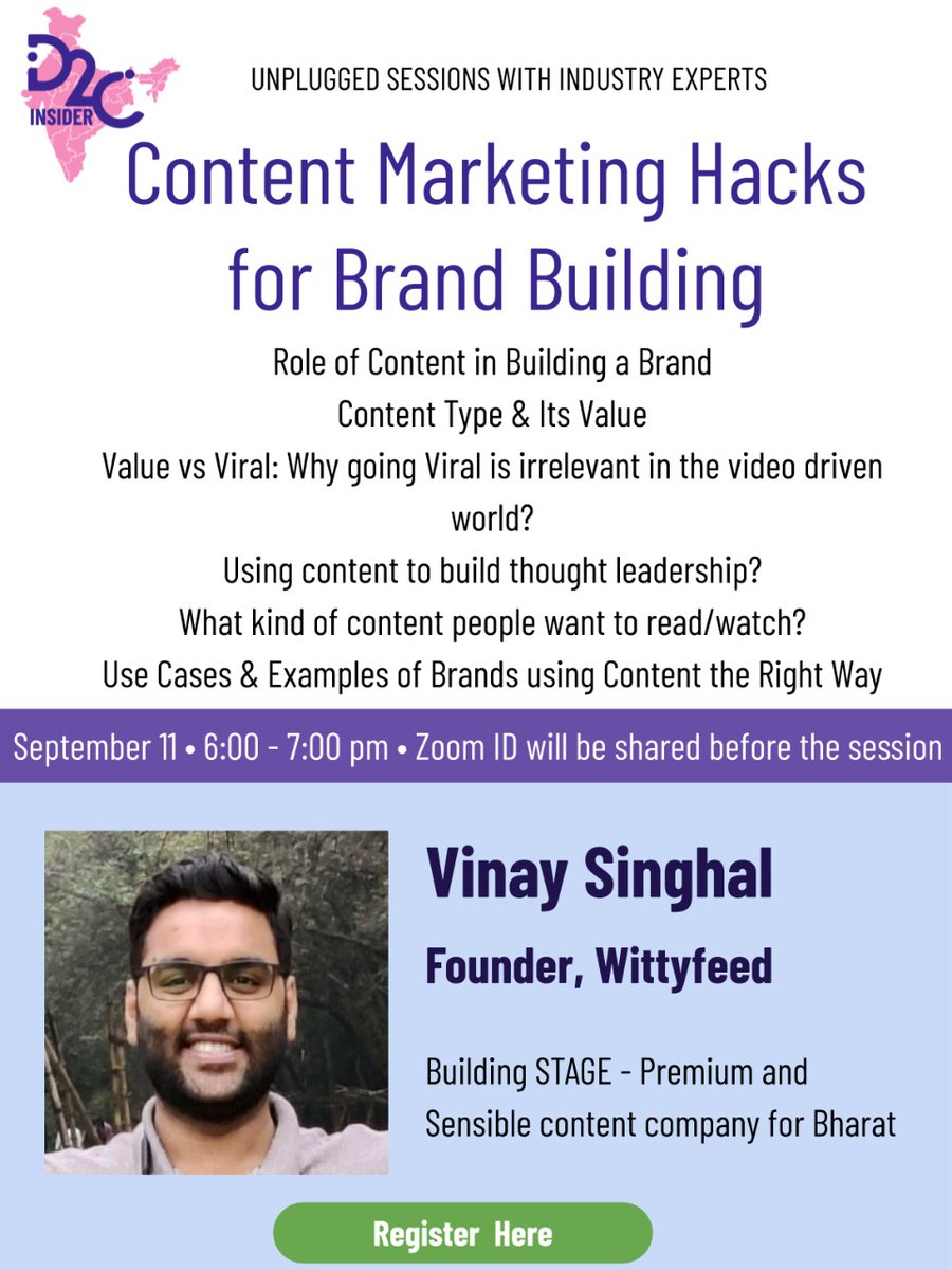 We will be discussing content and it's role in brand building today at 6:00 pm with @vinaykrsinghal, @STAGEdotin. Register Now & Join: https://t.co/sdmo4stMyn #D2CInsider #BrandBuilding #ContentMarketing #ContentStrategy #BusinessInsights #D2C https://t.co/Y2jbOB8n53