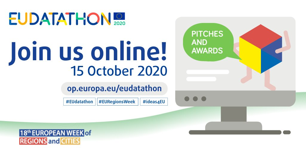 You're invited! 🧧 Register for #EUdatathon 2020, the #EUopendata competition 🏆  Happening on 15 October, the final event is fully 👨💻online 👩💻, as part of #EURegionsWeek with @EUinmyRegion and #ideas4EU.  This way to your🆓ticket https://t.co/CWZwJQOotK https://t.co/bUhGdeA5Hv