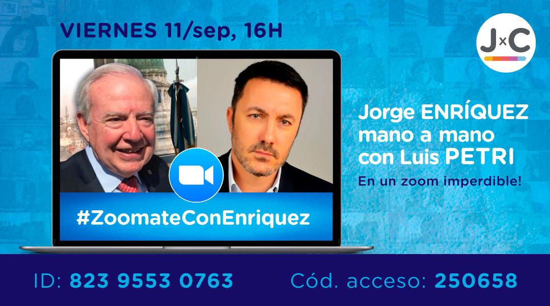 #HOY 16h 🎦 #ZoomateConEnriquez Mano a mano con el Diputado @luispetri   👉 https://t.co/FLLrZDwScD  🆔: 823 9553 0763  Cód. acceso: 250658 @prodiputados @diputadosucr @juntoscambioar https://t.co/DQGJTE7FML