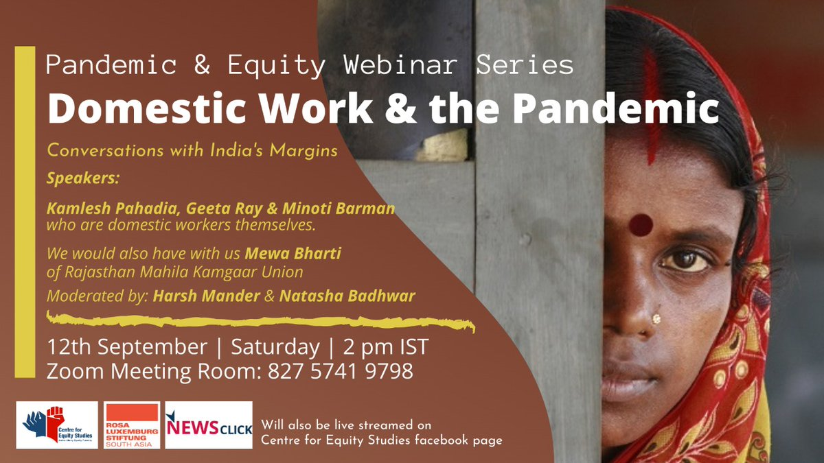 Event! You are cordially invited to the fifth edition of our Pandemic and Equity Webinar Series, we would be speaking to Domestic Workers.  Please Join us tomorrow at 2 pm. https://t.co/gdJElmQfuq @harsh_mander @karwanemohabbat https://t.co/VUC7O6LL8Q