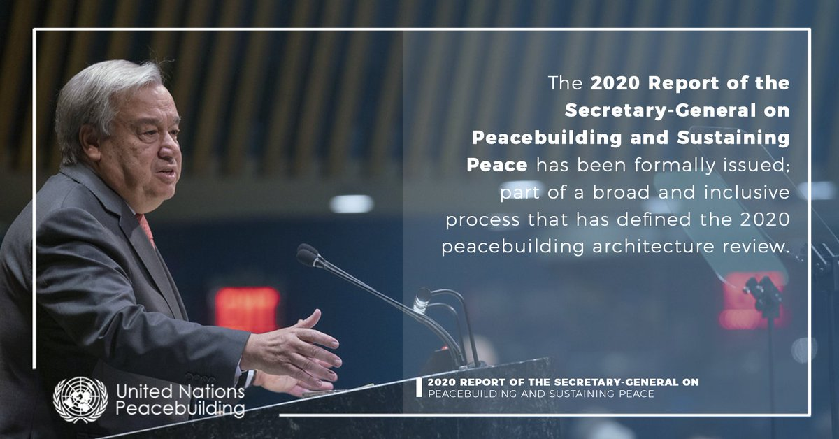 Today, the @UN Secretary-General @antonioguterres will brief the Member States on the 2020 report on #peacebuilding and #sustainingpeace during a virtual meeting of the UN General Assembly and the Security Council.  From 11AM EDT on https://t.co/CYknHa2Te9 https://t.co/a2jTe5RZg5
