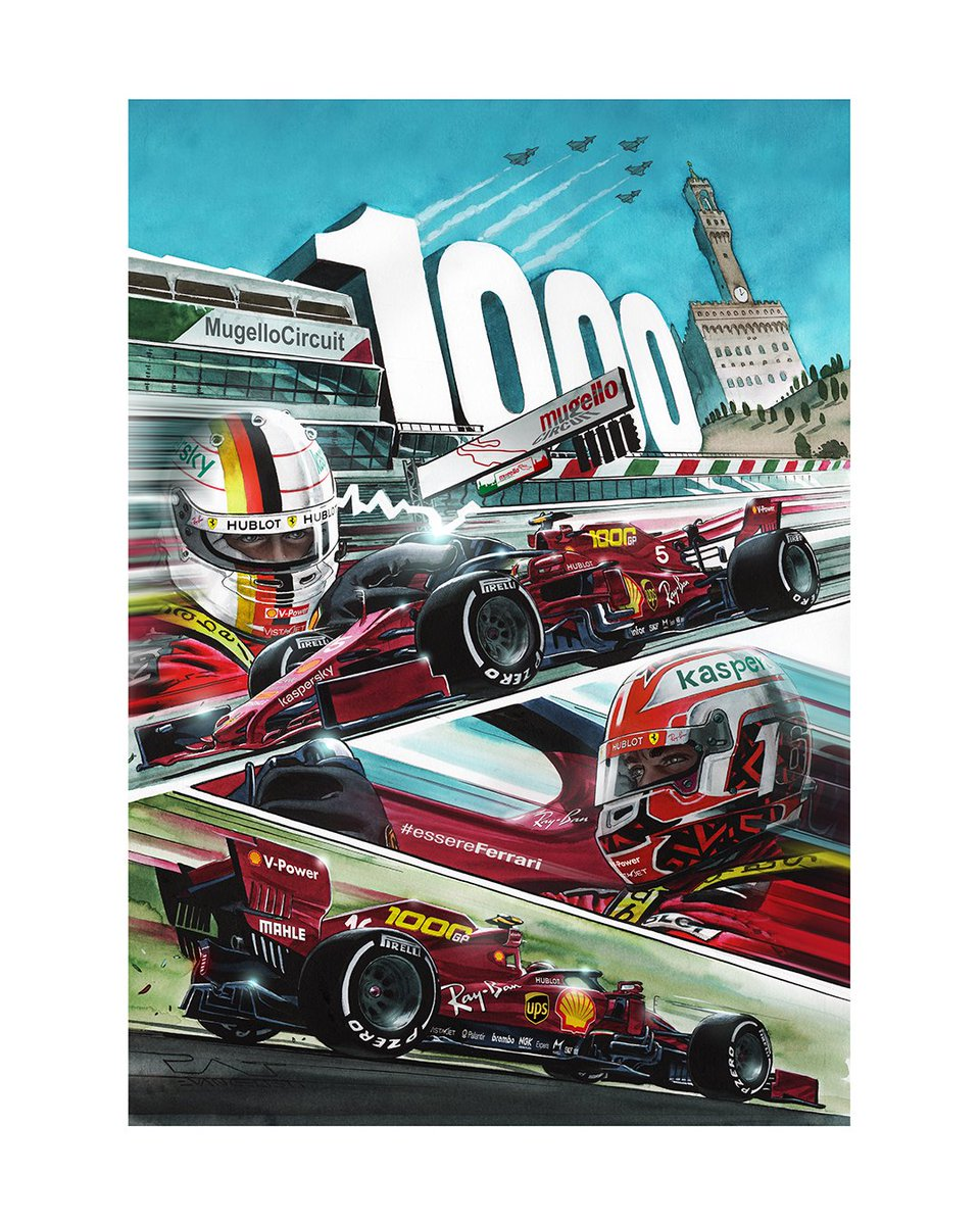 Feel that 1️⃣0️⃣0️⃣0️⃣th GP fever?! 🔥 To celebrate, this Sunday, #MuseoFerrari visitors will receive a free copy of this special Cover Art, which is dedicated to the occasion, with their ticket! 🎁 👏 #MuseiFerrari @ScuderiaFerrari