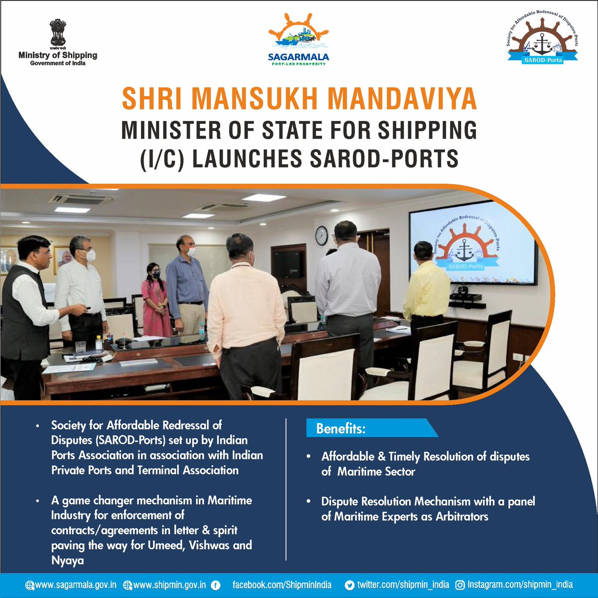 To promote #easeofdoingbusiness in maritime sector minister @mansukhmandviya launches 'SAROD-Ports' (Society for Affordable Redressal of Disputes - Ports). This will ensure Ummeed (hope), Vishwas(trust) and Nyaya (justice) in the dispute resolution mechanism. https://t.co/mBlblgpUPJ