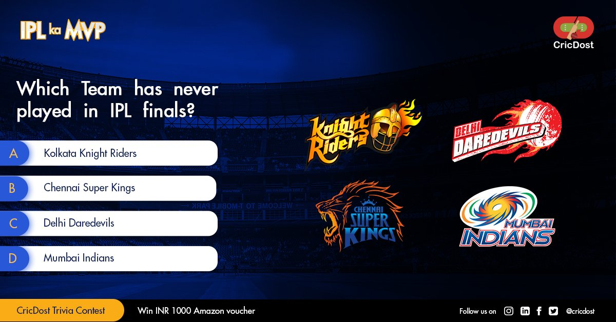 Let's start with this week's IPL Ka MVP Contest!🔥✨🔥 Let us know the answer below 👇🏻 Follow ,Like, Share and Participate to win!🎁🎁 #IPLkaMVP #CricDostTriviaContest #contestalert #contest #cricdost https://t.co/pYEoLttIIl