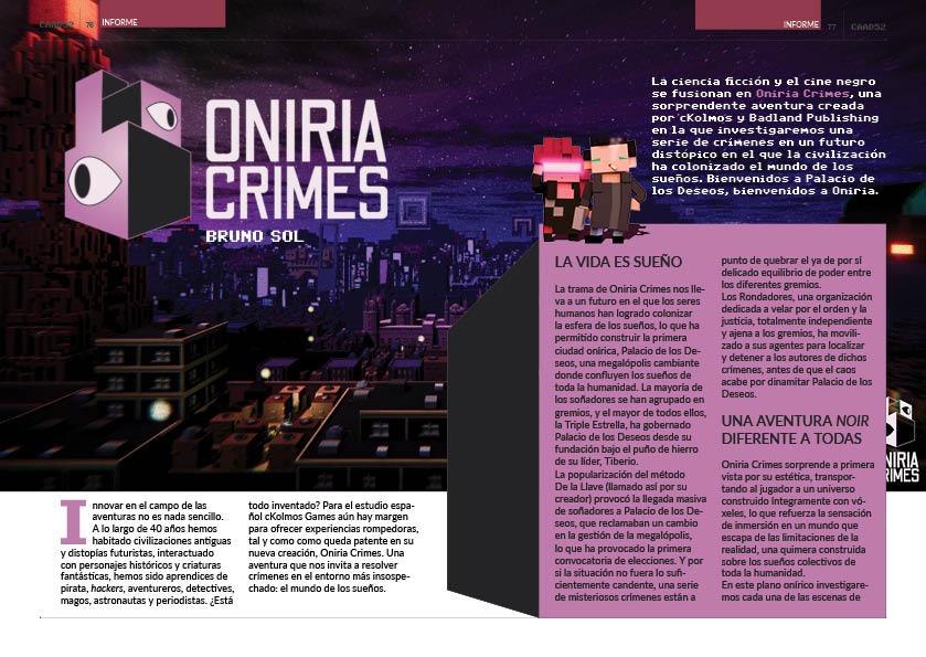 El CAAD 52 sigue avanzando a todo trapo para llegar a destino este mismo mes. Veamos un avance del informe realizado por el mismo Bruno Sol (@YeOldeNemesis) sobre Oniria Crimes, juego que se lanzará en octubre. 😎 https://t.co/EevMJtXBq9
