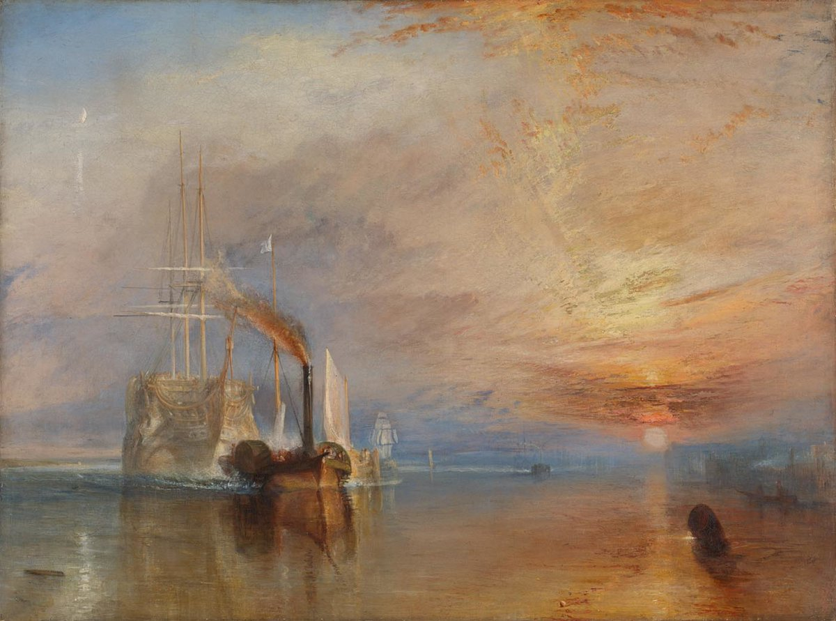 The HMS Temeraire was launched #OnThisDay in 1798. The 98-gun ship 'Temeraire' played a distinguished role in Nelson's victory at the Battle of Trafalgar in 1805. You can see Turner's painting of the ship in Room 34 on Routes B and C: https://t.co/iaxboc9zBO https://t.co/dPMhvM3ikc