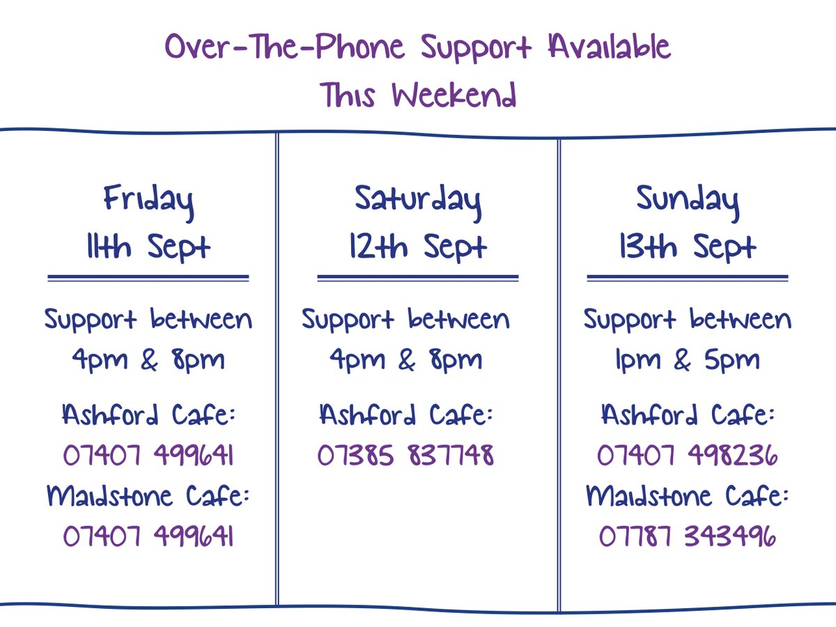 We are continuing to offer out-of-hours telephone and ZOOM support for anyone who needs to have a chat and access a little bit of extra support.  If you need a chat, we're here for you this weekend.  #MentalHealth | #Maidstone | #Kent https://t.co/otPZzzqxnj