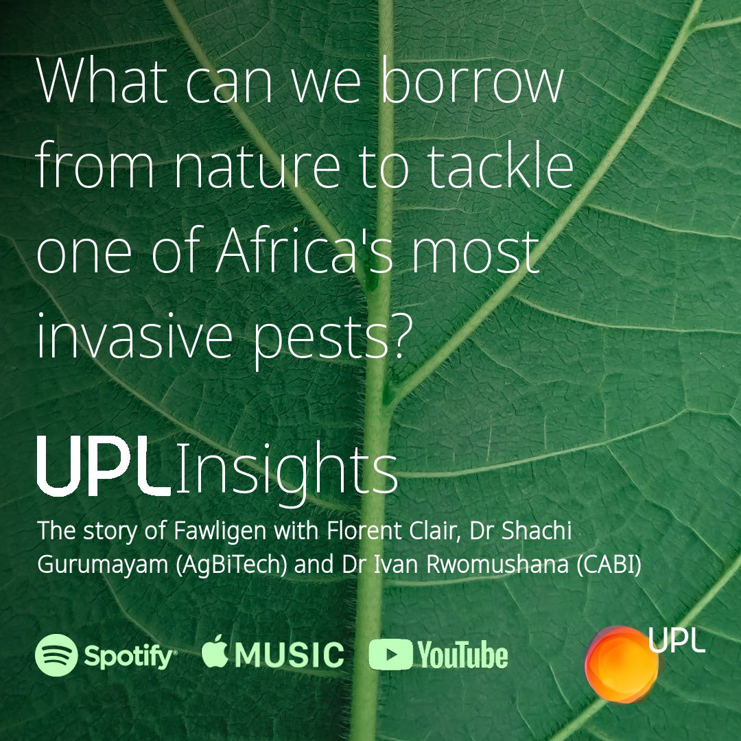 Episode of #UPLInsights, we look at FAWligen– new technology that helps caterpillars  combat pests. Florent Clair joined by Dr. Shachi Gurumayum, Head of Africa for @AgBiTech, & Dr Ivan Rwomushana, Senior Scientist, Invasive Species Management for CABI. https://t.co/Coaoc41gJ8 https://t.co/gCeEyYFqJt