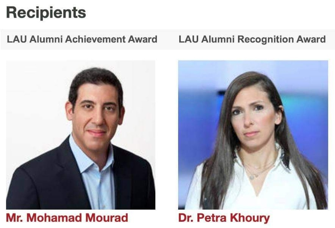 The Alumni Relations Office at LAU is proud to announce that the recipients of the 2020 Alumni Recognition Award and the Alumni Achievement Award are respectively Petra Khoury and Mohamad Mourad. #LAUAlumni #LAUPride https://t.co/FrqVT4iLoh